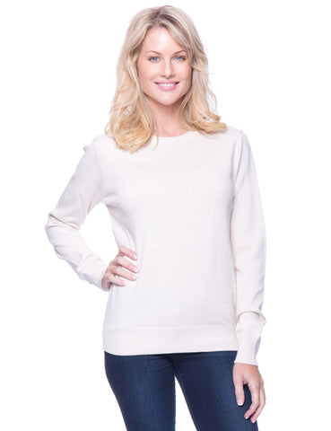 Premium Cotton Crew Neck Sweater - Cream