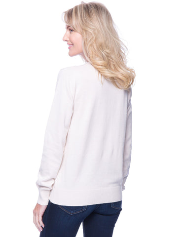 Tocco Reale Women's Premium Cotton Crew Neck Sweater - Cream