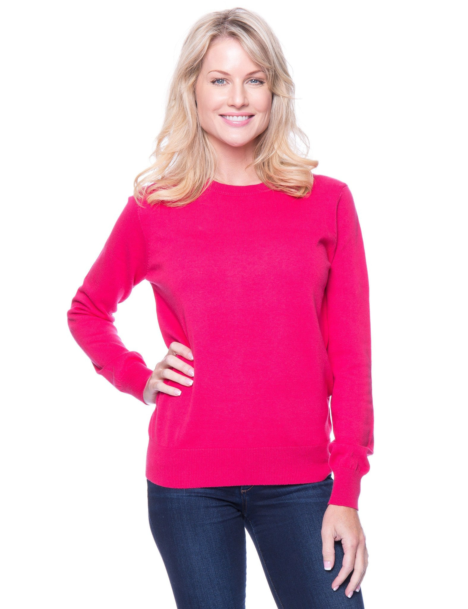 Premium Cotton Crew Neck Sweater - Fuchsia