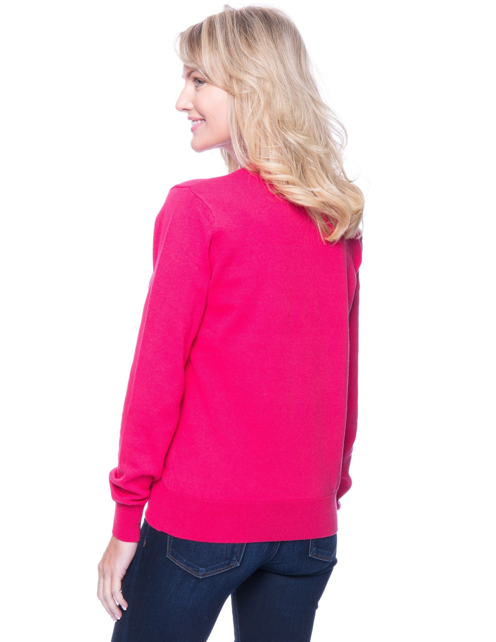 Tocco Reale Women's Premium Cotton Crew Neck Sweater - Fuchsia