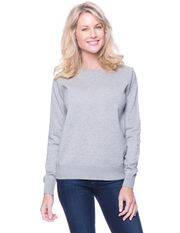 Premium Cotton Crew Neck Sweater - Heather Grey