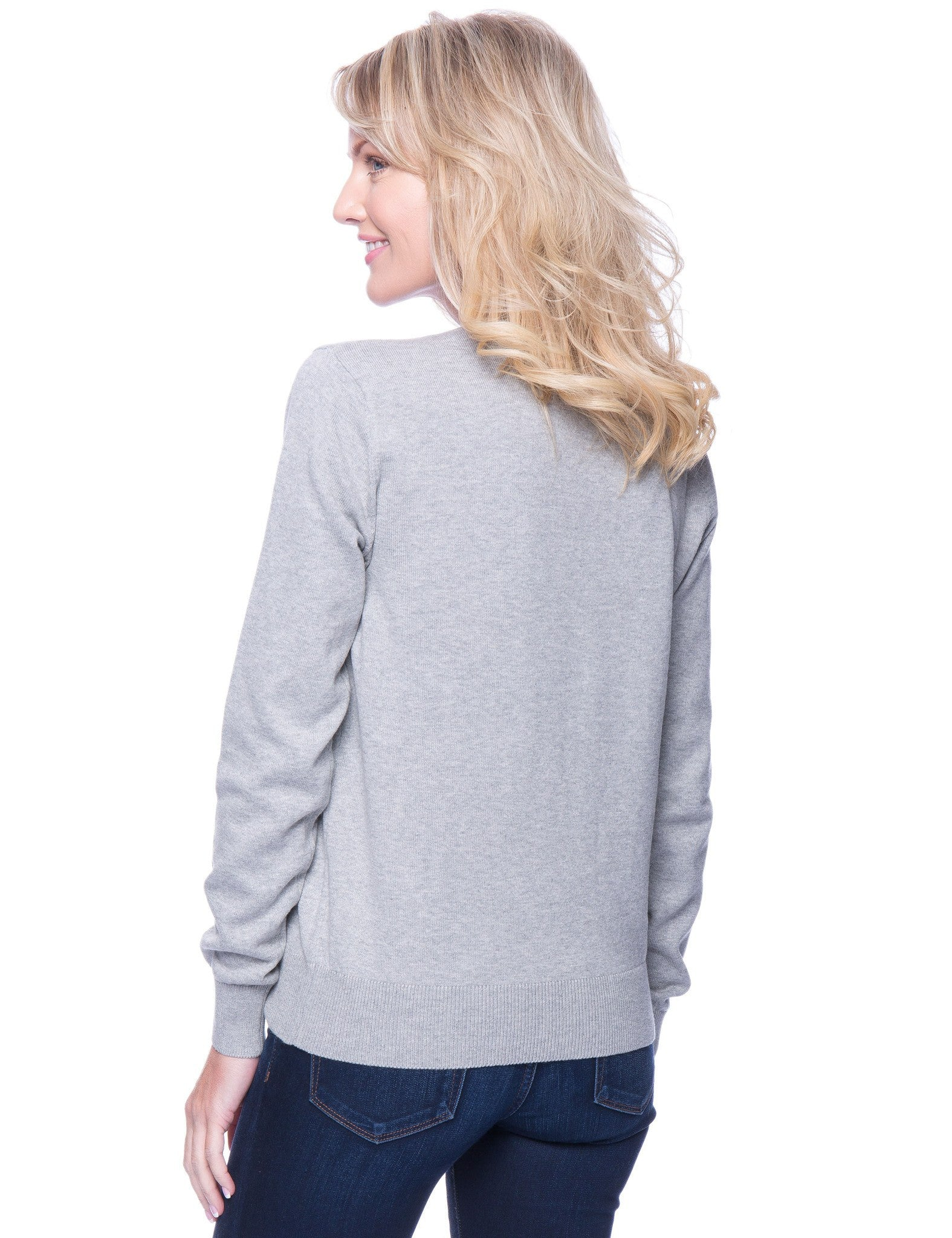 Tocco Reale Women's Premium Cotton Crew Neck Sweater - Heather Grey
