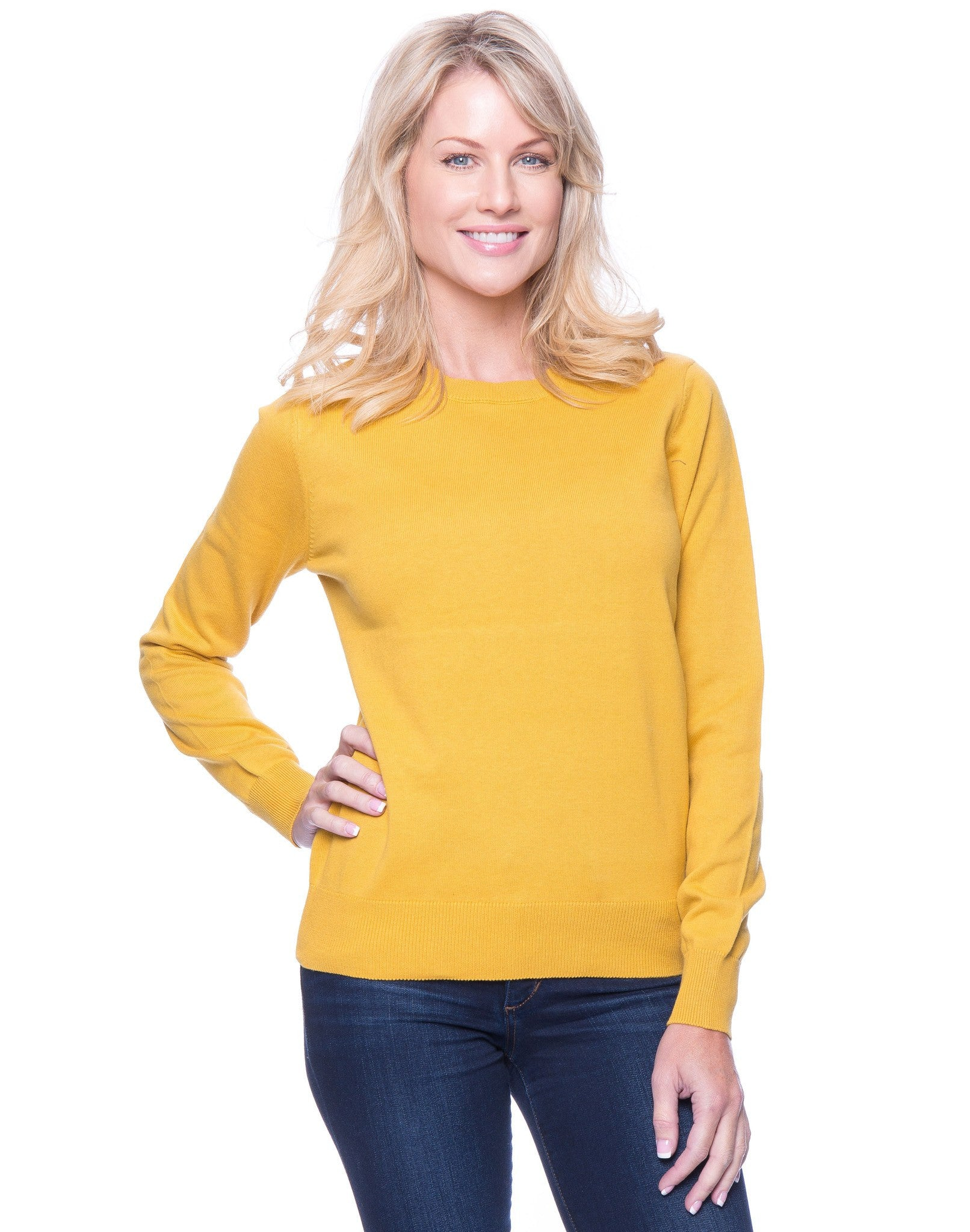 Premium Cotton Crew Neck Sweater - Mustard