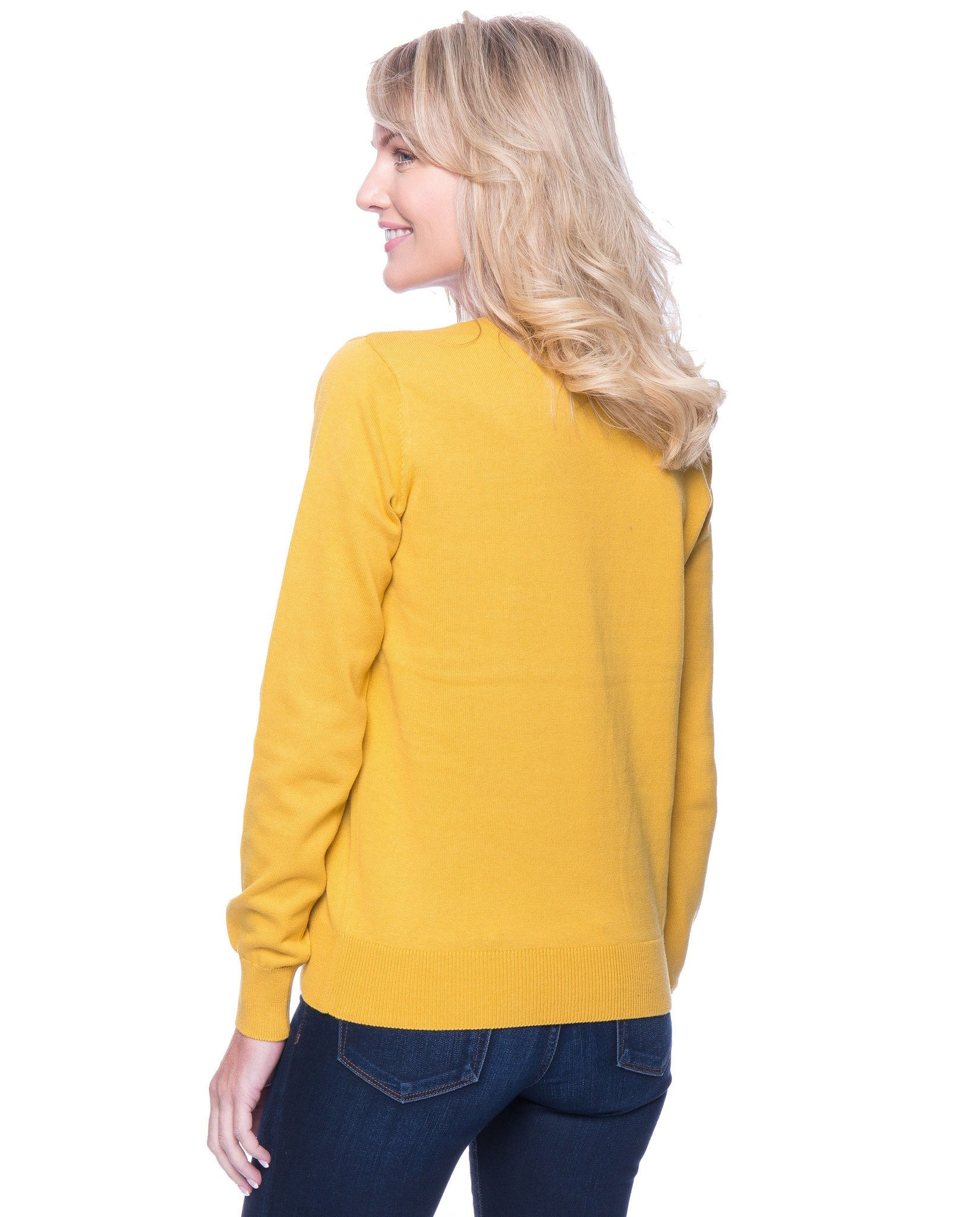 Tocco Reale Women's Premium Cotton Crew Neck Sweater - Mustard