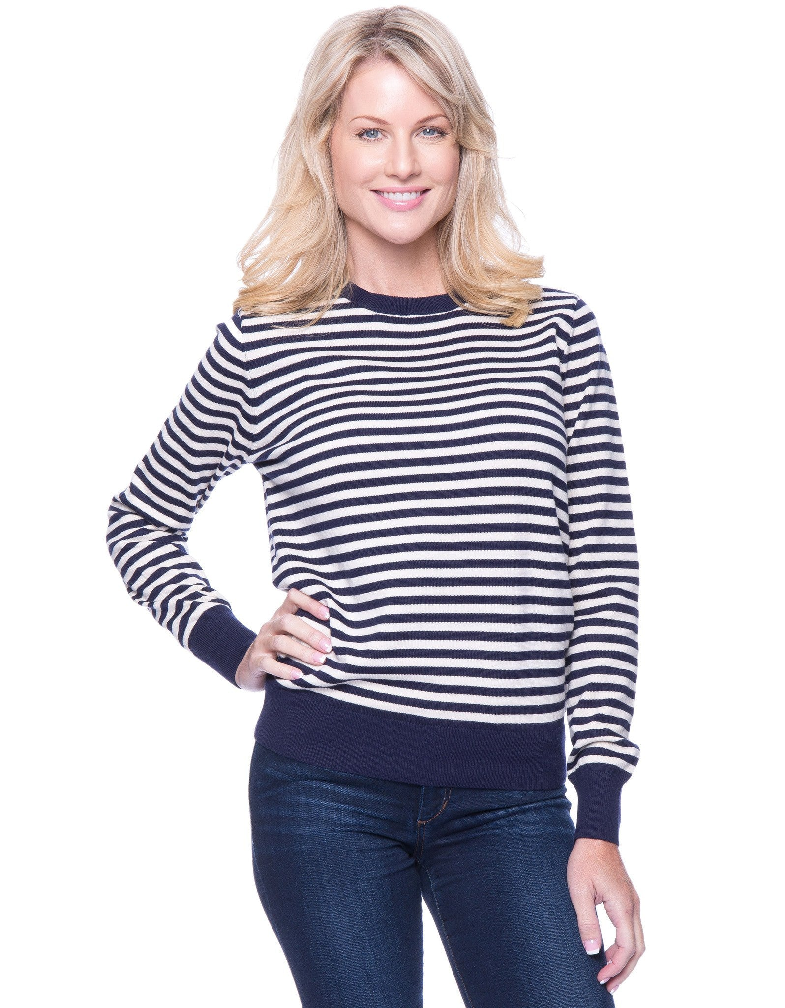Premium Cotton Crew Neck Sweater - Stripes Navy/Ivory