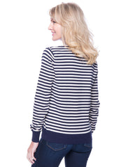 Tocco Reale Women's Premium Cotton Crew Neck Sweater - Stripes Navy/Ivory