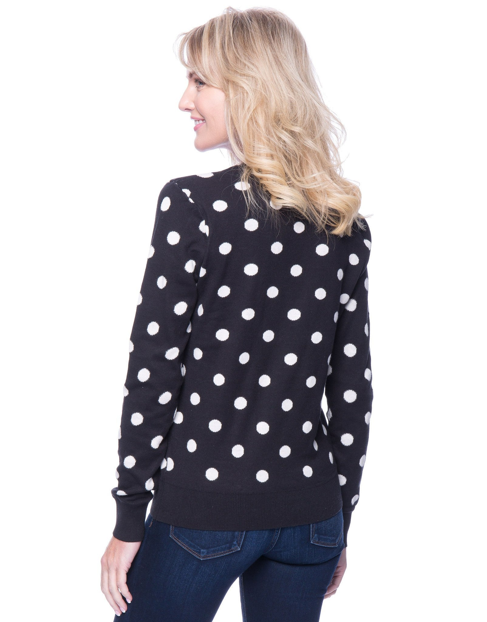 Tocco Reale Women's Premium Cotton Crew Neck Sweater - Polka Dots Black/Ivory