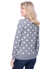 Tocco Reale Women's Premium Cotton Crew Neck Sweater - Polka Dots Heather Grey/Ivory