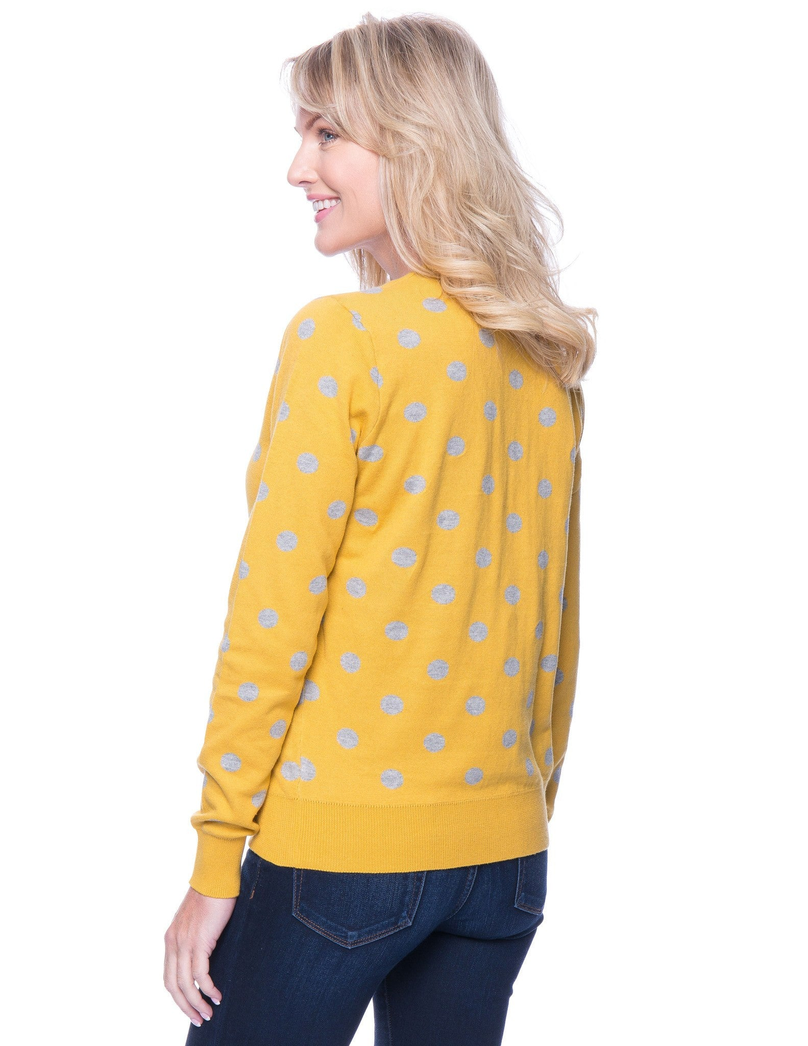 Tocco Reale Women's Premium Cotton Crew Neck Sweater - Polka Dots Mustard/Heather Grey