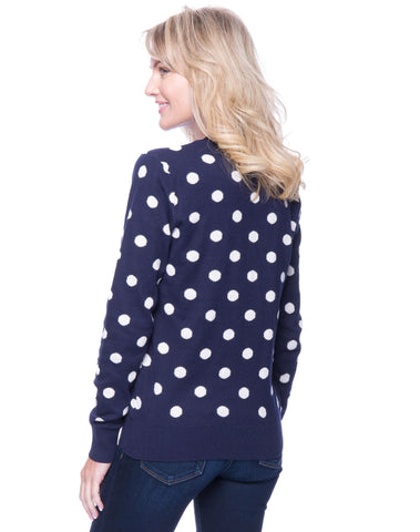 Tocco Reale Women's Premium Cotton Crew Neck Sweater - Polka Dots Navy/Ivory