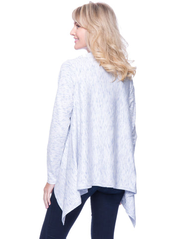 Tocco Reale Women's Space Dyed Open Cardigan Sweater - Light Blue