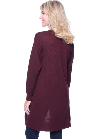 Tocco Reale Women's Wool Blend Long Open Cardigan - Bordeaux