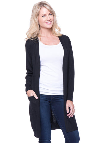 Wool Blend Long Open Cardigan - Black