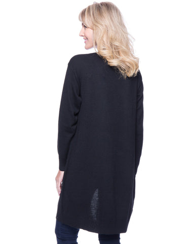 Tocco Reale Women's Wool Blend Long Open Cardigan - Black