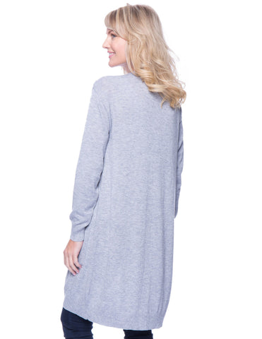 Tocco Reale Women's Wool Blend Long Open Cardigan - Heather Grey