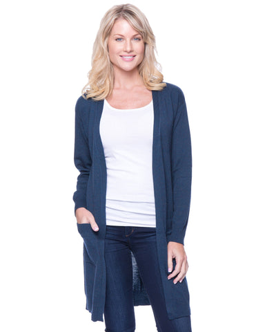 Wool Blend Long Open Cardigan - Teal