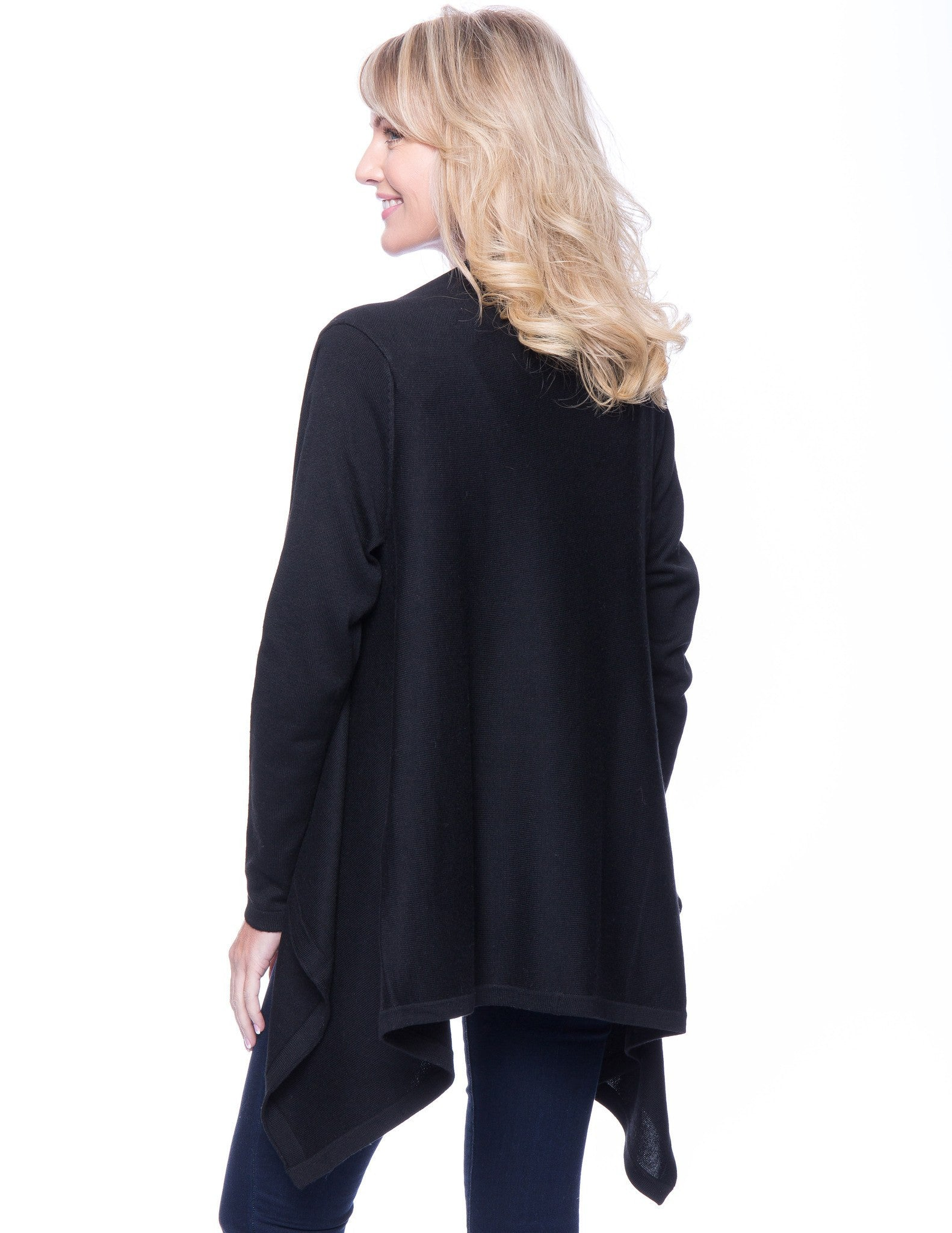 Tocco Reale Women's Wool Blend Open Cardigan - Black