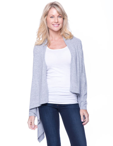 Wool Blend Open Cardigan - Heather Grey
