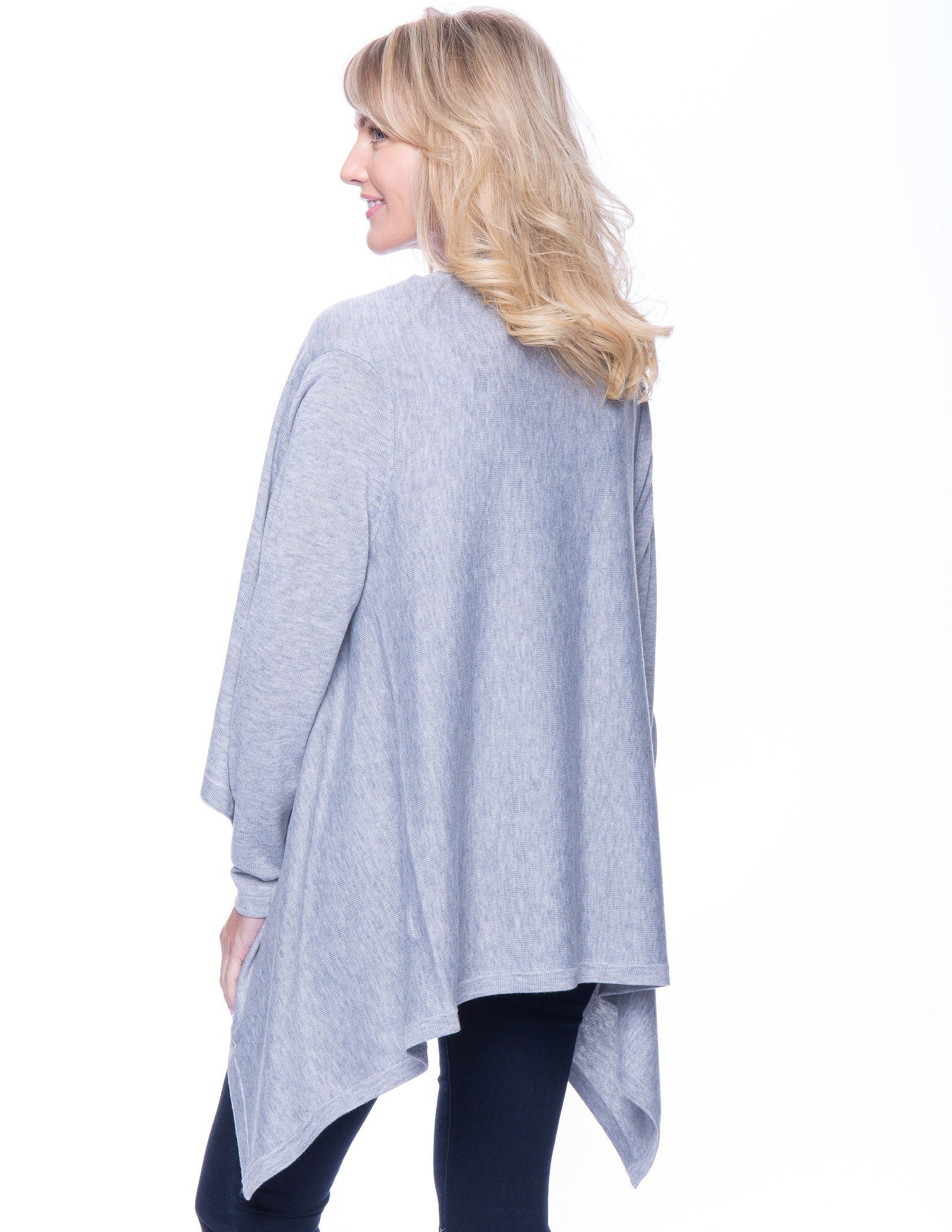 Tocco Reale Women's Wool Blend Open Cardigan - Heather Grey