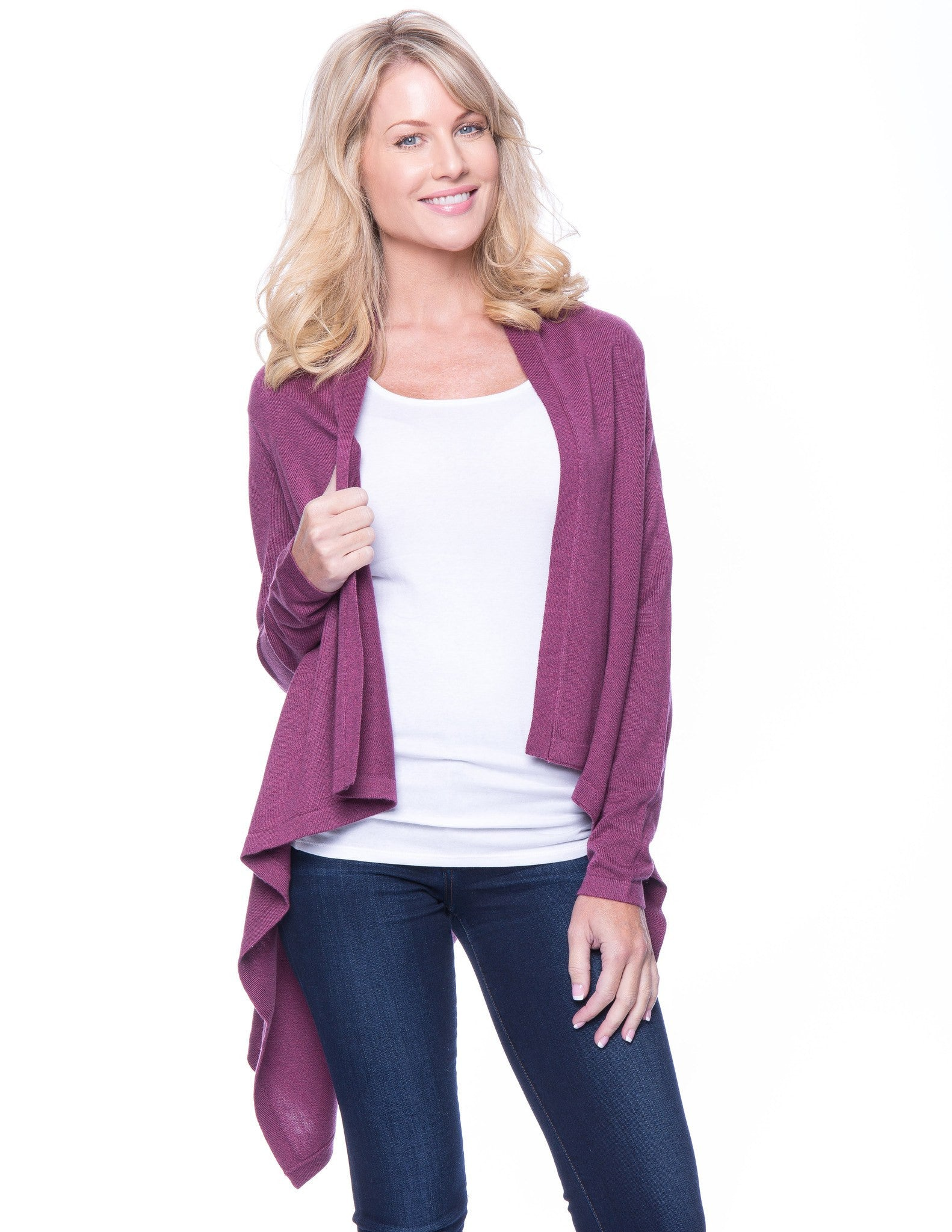 Wool Blend Open Cardigan - Plum