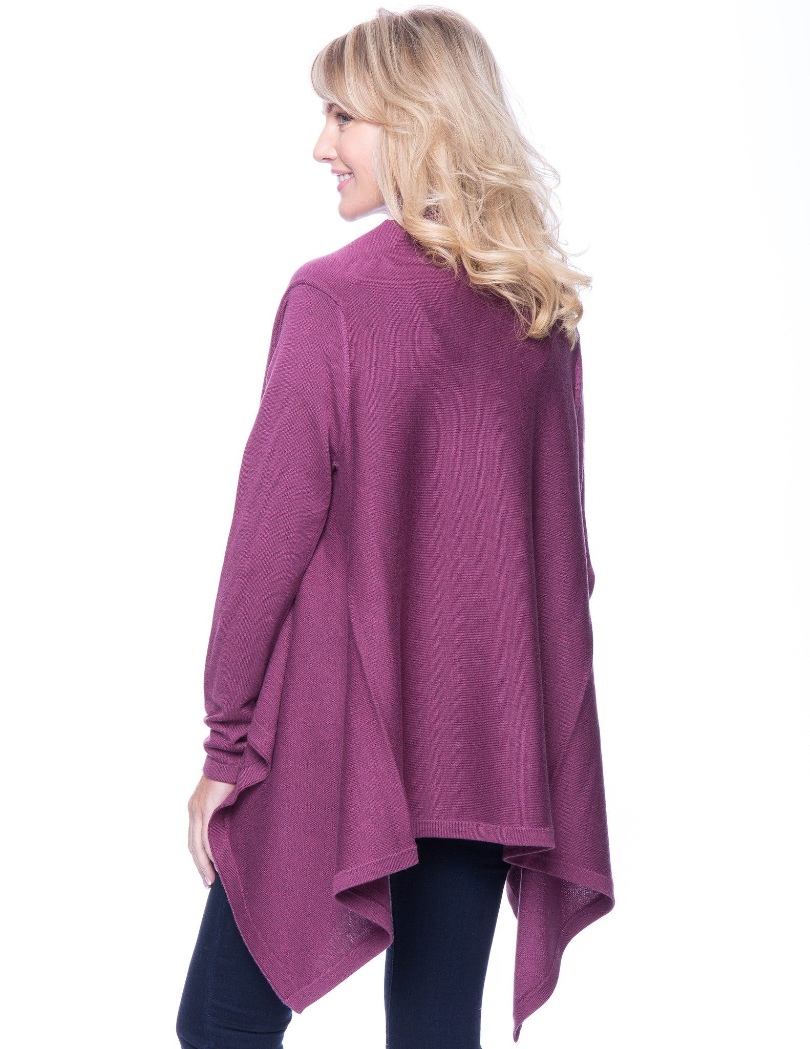 Tocco Reale Women's Wool Blend Open Cardigan - Plum