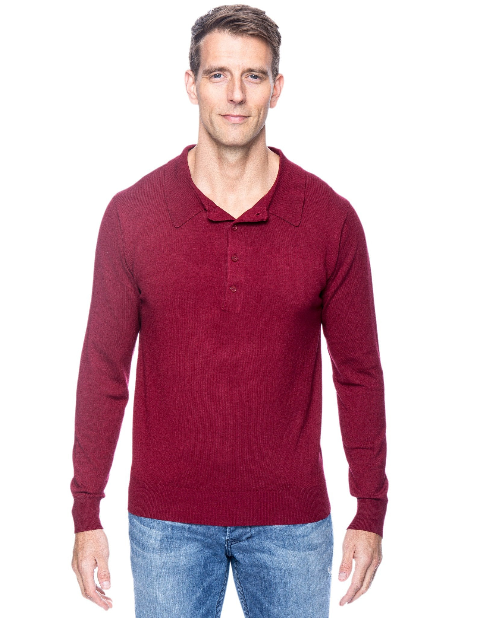 Classic Knit Long Sleeve Polo Sweater - Bordeaux