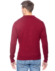 Tocco Reale Men's Classic Knit Long Sleeve Polo Sweater - Bordeaux