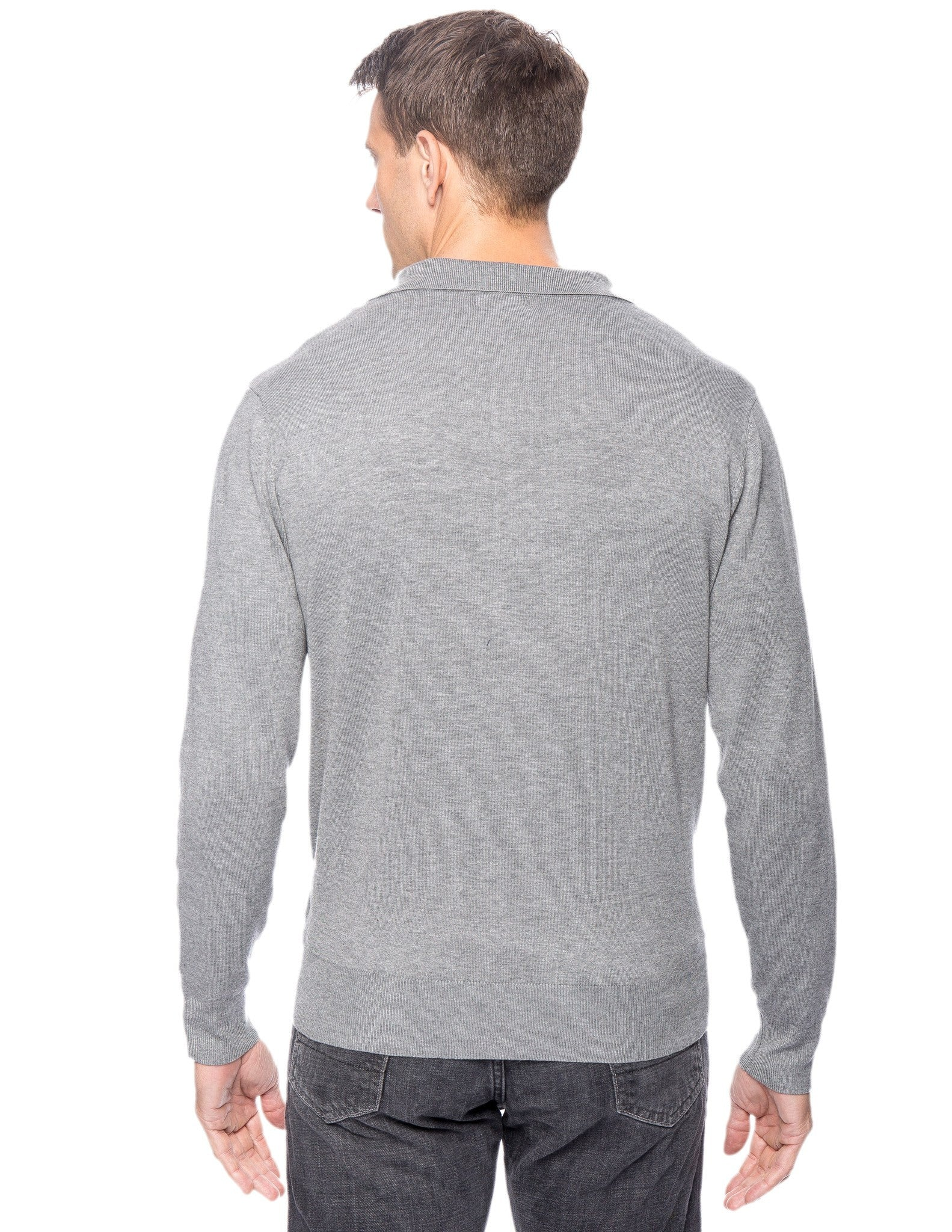 Tocco Reale Men's Classic Knit Long Sleeve Polo Sweater - Heather Grey