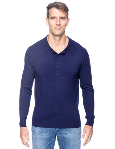 Classic Knit Long Sleeve Polo Sweater - Navy
