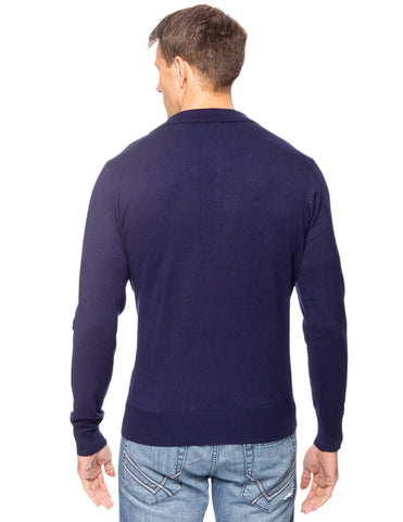 Tocco Reale Men's Classic Knit Long Sleeve Polo Sweater - Navy