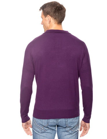 Classic Knit Long Sleeve Polo Sweater - Purple