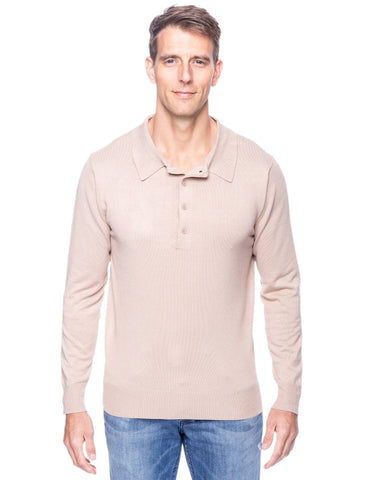 Classic Knit Long Sleeve Polo Sweater - Stone
