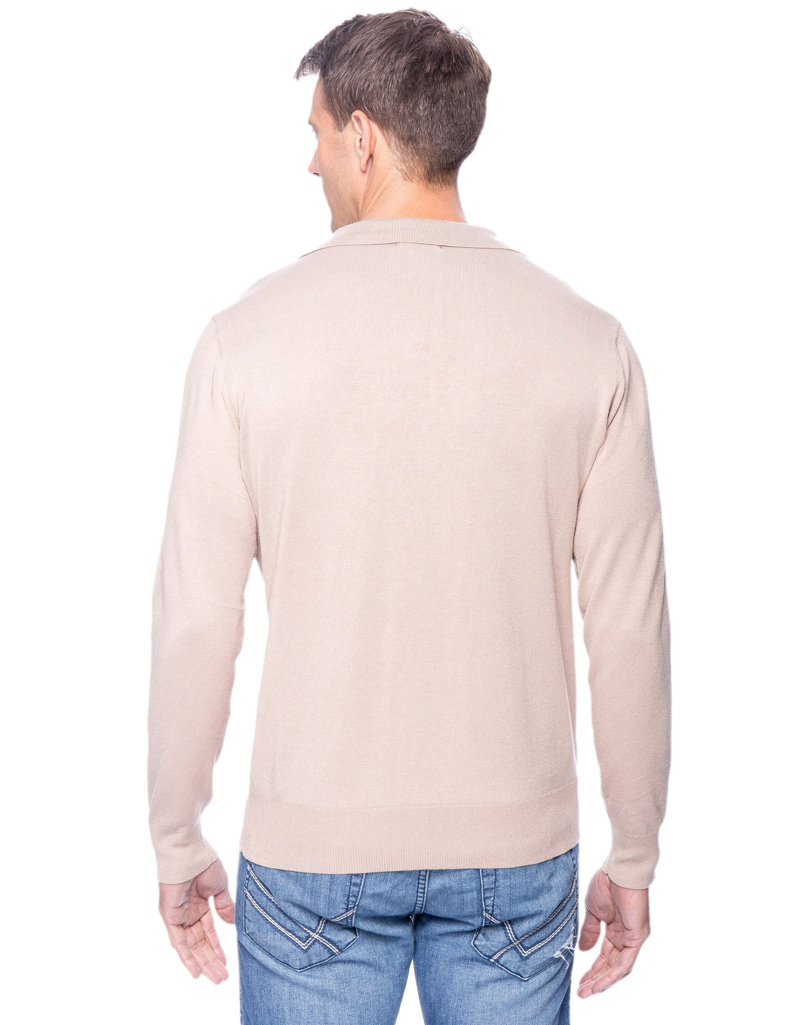 Tocco Reale Men's Classic Knit Long Sleeve Polo Sweater - Stone