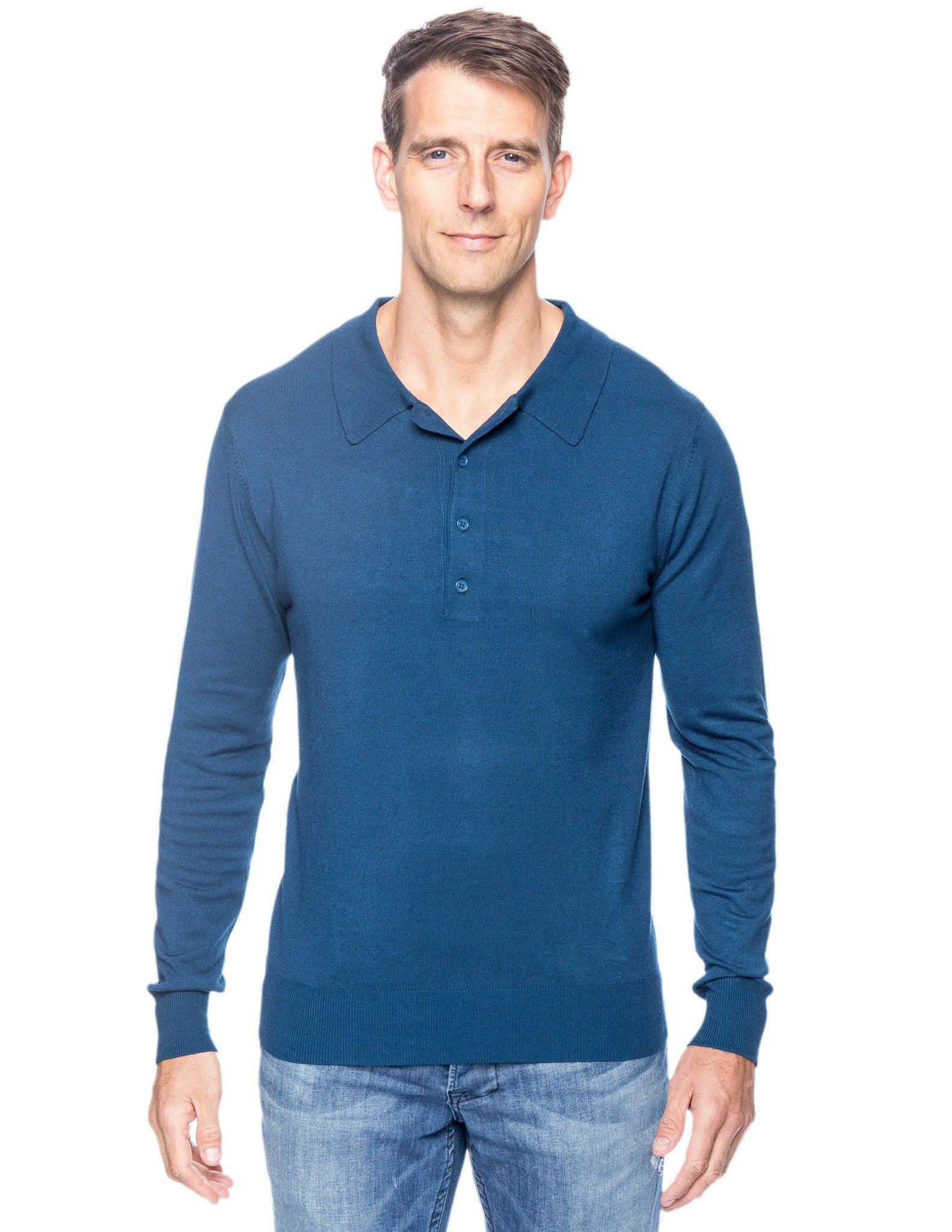 Classic Knit Long Sleeve Polo Sweater - Teal