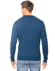 Tocco Reale Men's Classic Knit Long Sleeve Polo Sweater - Teal