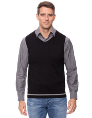 Cashmere Blend Sweater Vest - Black