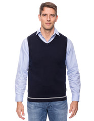 Cashmere Blend Sweater Vest - Denim