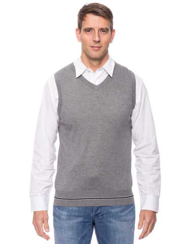 Cashmere Blend Sweater Vest - Heather Grey