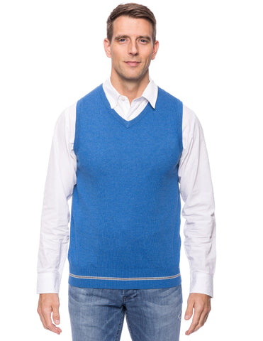 Cashmere Blend Sweater Vest - Light Blue