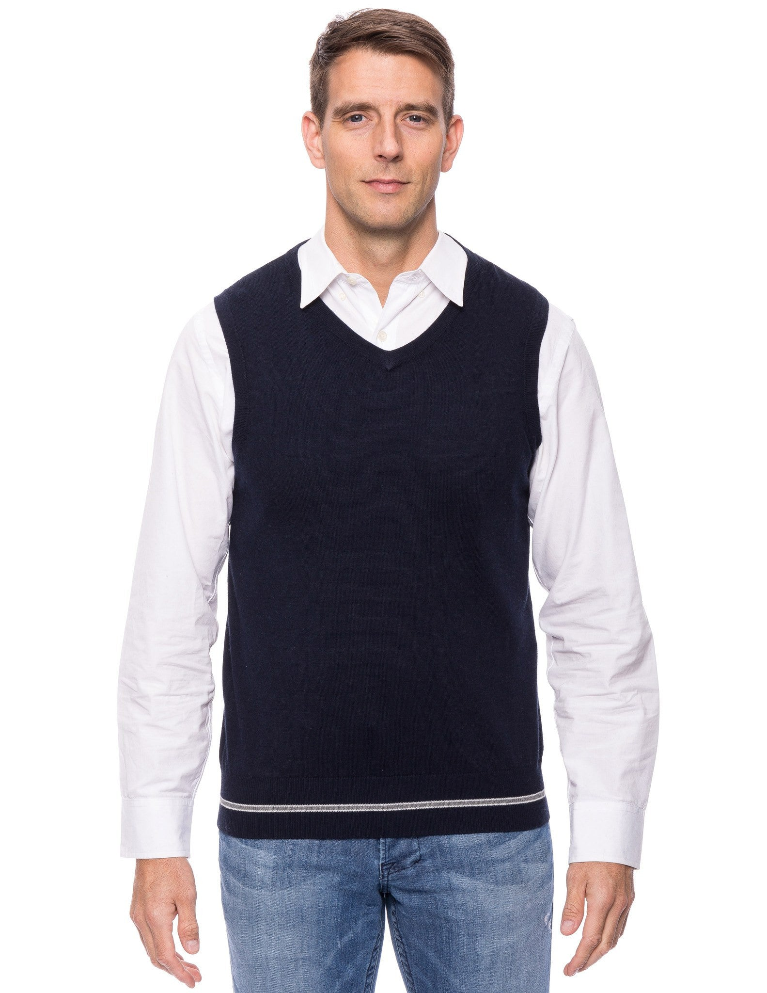 Cashmere Blend Sweater Vest - Navy