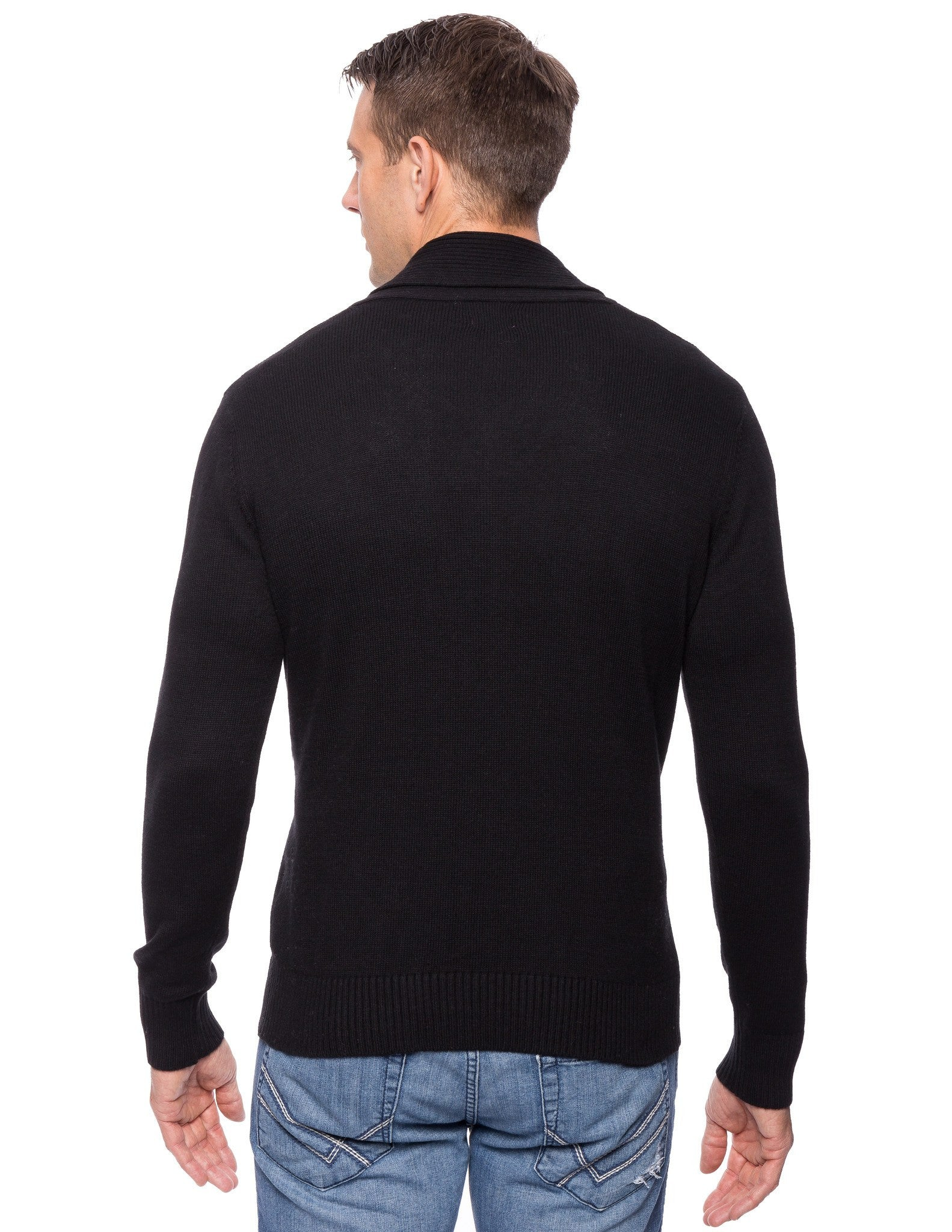 Tocco Reale Men's Cashmere Blend Shawl Collar Pullover Sweater - Black