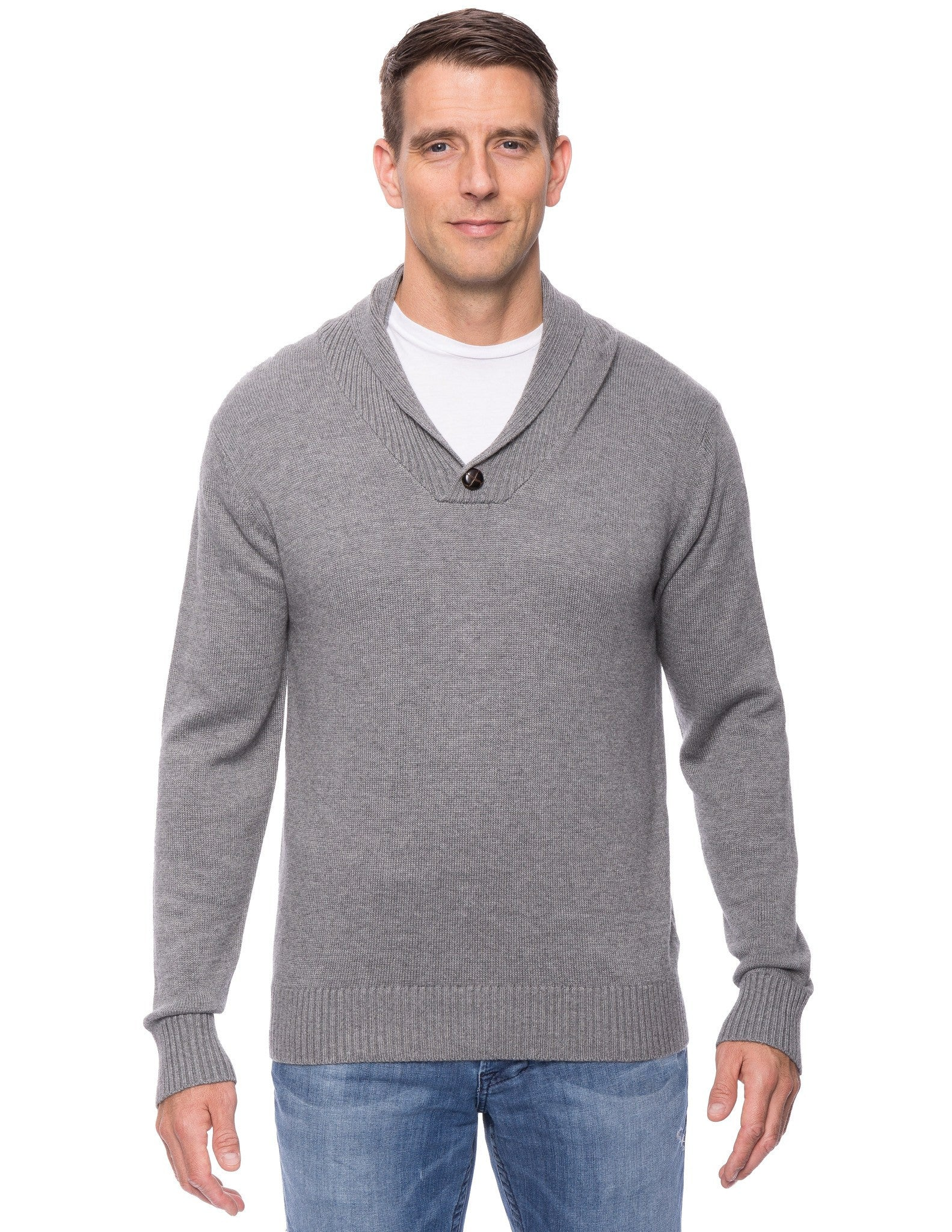 Cashmere Blend Shawl Collar Pullover Sweater - Heather Grey