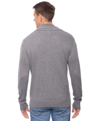 Tocco Reale Men's Cashmere Blend Shawl Collar Pullover Sweater - Heather Grey