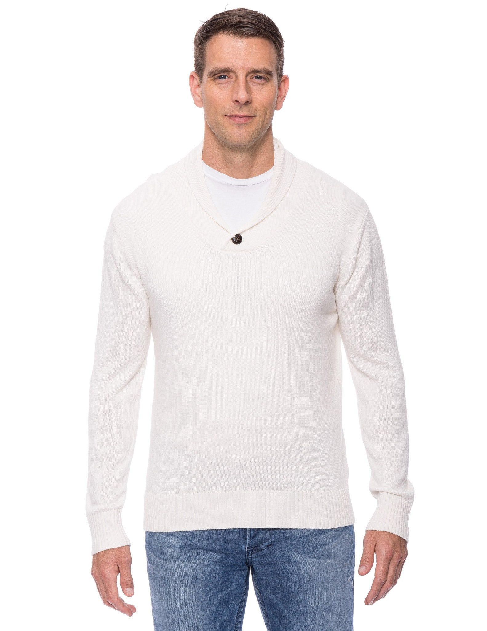 Cashmere Blend Shawl Collar Pullover Sweater - Ivory