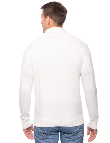 Tocco Reale Men's Cashmere Blend Shawl Collar Pullover Sweater - Ivory
