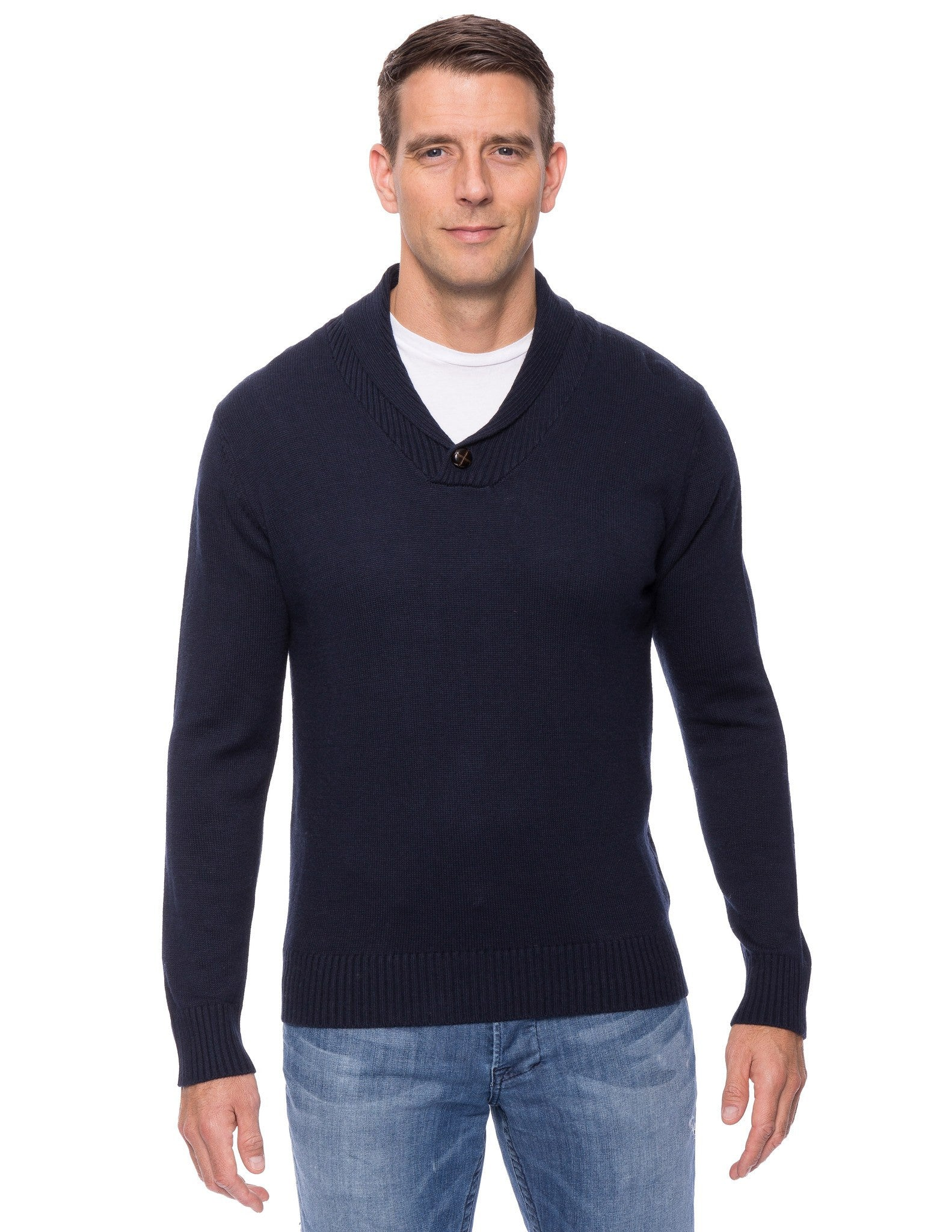 Cashmere Blend Shawl Collar Pullover Sweater - Navy