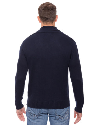Tocco Reale Men's Cashmere Blend Shawl Collar Pullover Sweater - Navy