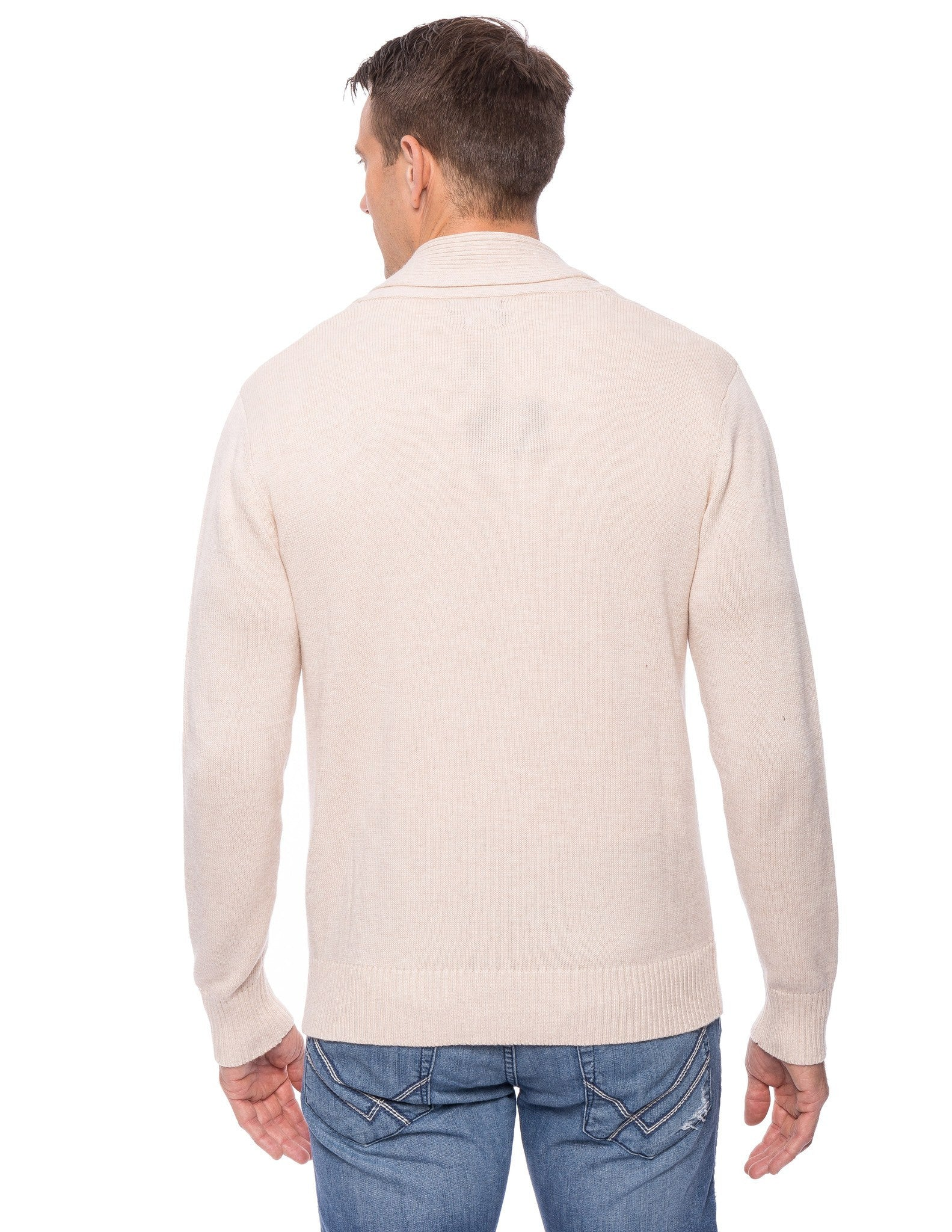 Tocco Reale Men's Cashmere Blend Shawl Collar Pullover Sweater - Stone