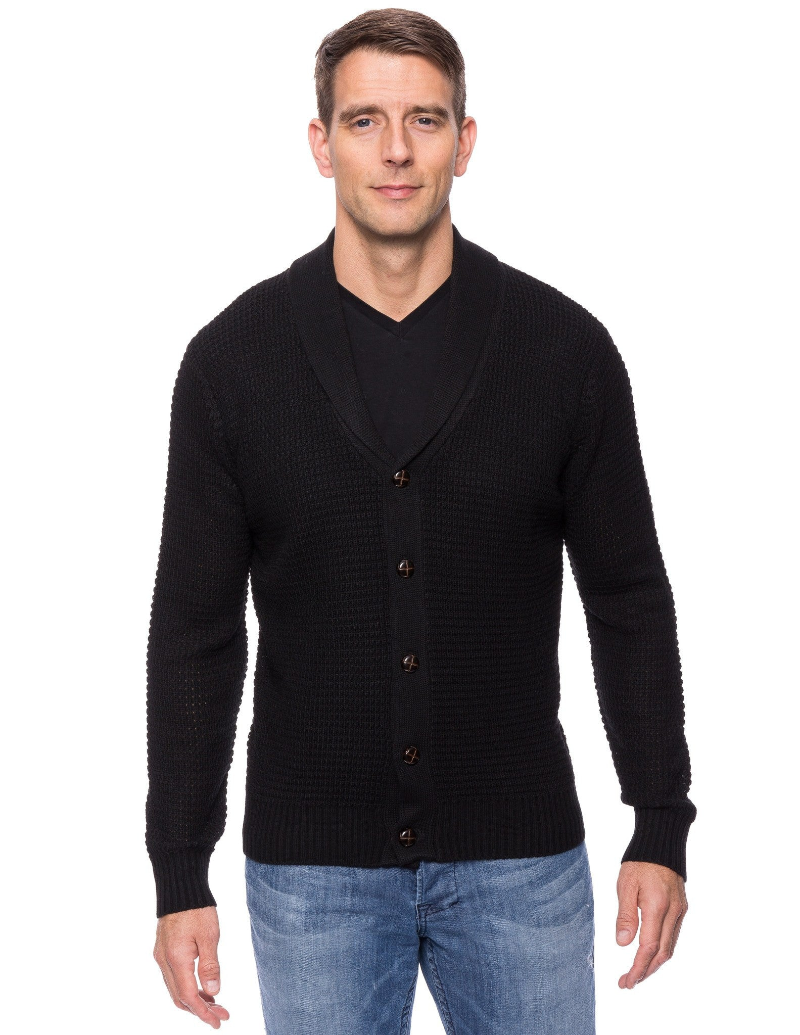 Wool Blend Shawl Collar Cardigan in Waffle Stitch - Black