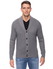 Wool Blend Shawl Collar Cardigan in Waffle Stitch - Heather Grey